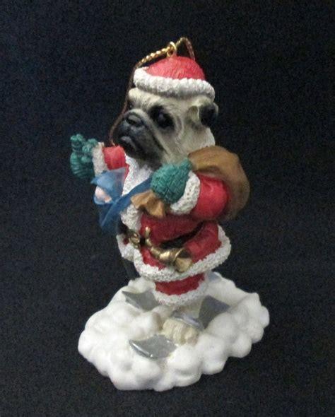 pug skiing resin pug skiing santa claus tree ornament ornaments