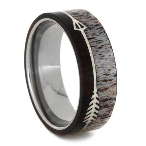 titanium wedding band with deer antler and ironwood