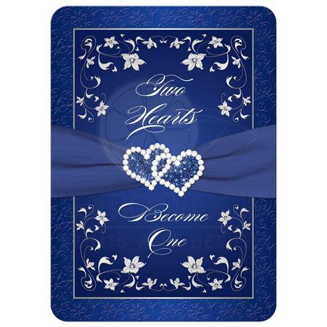 wedding invitation royal blue silver white floral