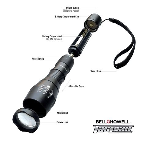 bell and howell tac light flashlight bell howell taclight high powered tactical flashlight
