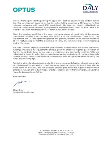 Telstra Cover Letter by Agenda Of Lismore City Council 14 November 2017