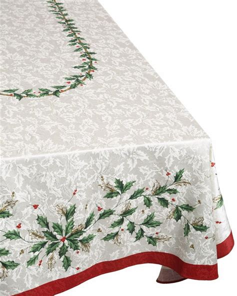lenox fine linens holiday christmas ivory holly berry jacquard tablecloth new ebay