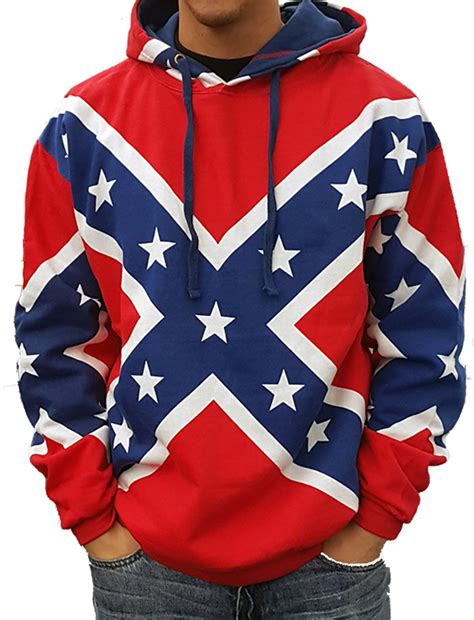 confederate rebel flag all over hooded sweatshirt