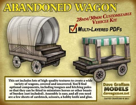 How To Make A Paper Wagon - paizo abandoned wagon 30mm paper model pdf