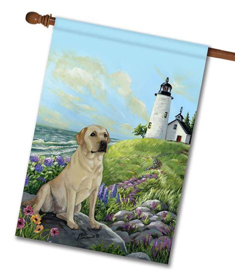 dog house for labrador retriever yellow labrador retriever rocky point house flag 28 x 40 custom printed
