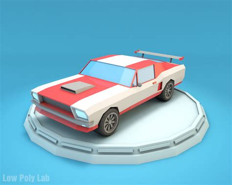 Log Home 3d Design Software Low Poly Racing Car Mustang Download Game Ready 3d Model