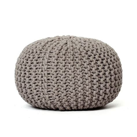 knitted pouf fab knitted pouf light gray d凳 them