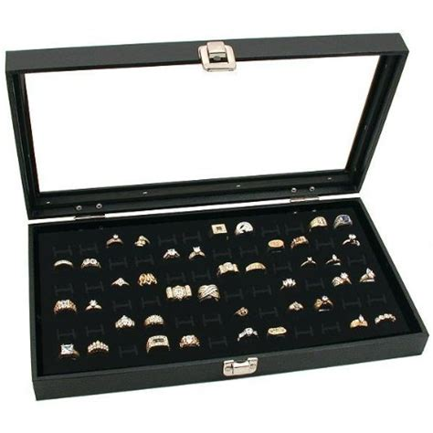 glass top black jewelry display 72 slot ring tray