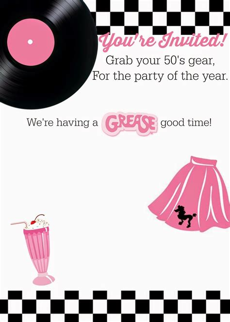 Free 50 S Grease Theme Invitation With Instructions To Personalize Free Printables I Love Grease Invitation Template