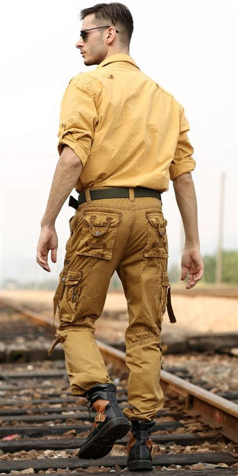 yellow shirt brown with numerous pockets for
