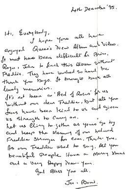 lettere di natale per i genitori lettera dei genitori di freddie ai fans per natale