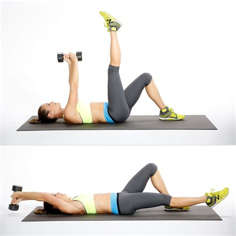 circuit three overhead reach with leg lower circuit workout with weights popsugar fitness