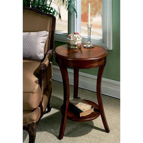 cherry wood accent tables butler specialty plantation cherry round wood accent table