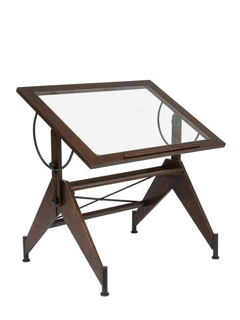 Studio Designs Aries Glass Top Drafting Table Misterart Com Drafting Table Top Material
