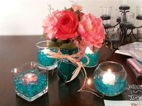 teal and coral centerpiece idea wedding ideas pinterest