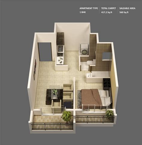 home design 500 sq ft 1 bedroom apartment house plans