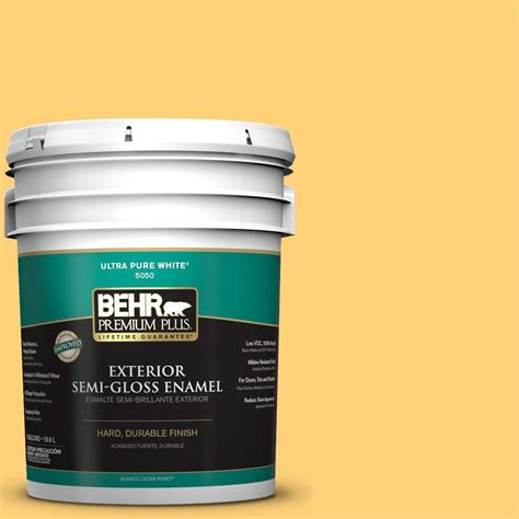 home depot behr paint yellow behr premium plus 5 gal p260 5 yellow jubilee semi gloss