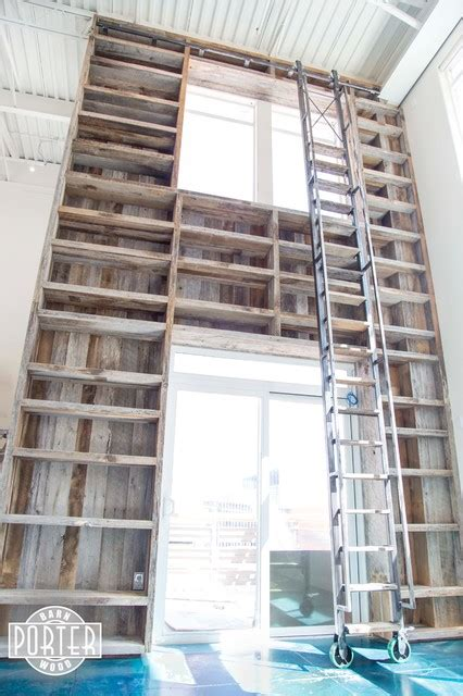 bookcase reclaimed tobacco barn wood with rolling ladder