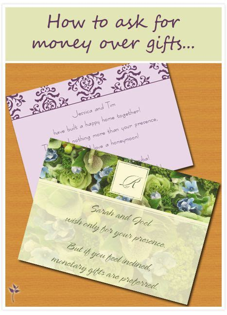 How To Ask For Gift Cards On An Invitation - how to ask for money for your wedding wedding tips tricks pinterest visa