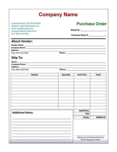 purchase order templates word excel