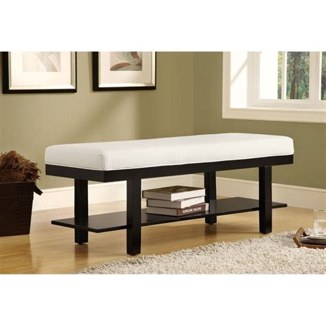 faux leather bench pad monarch solid wood bench with shelf and white faux leather