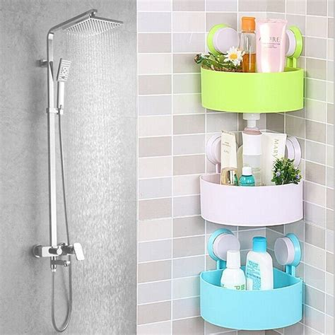 Bathroom Shower Racks Plastic Bathroom Corner Storage Rack Organizer Shower Shelf Suction Cup Lo Ebay