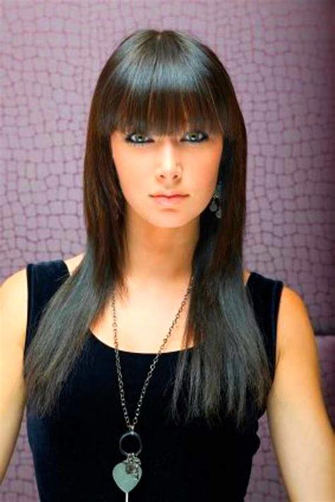 images of long straight hair cut with bangs and patial shag straight hair style with bangs for you hair style top