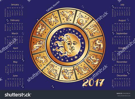 new year 2017 astrology 2017 new year calendarhoroscope circle zodiac stock vector