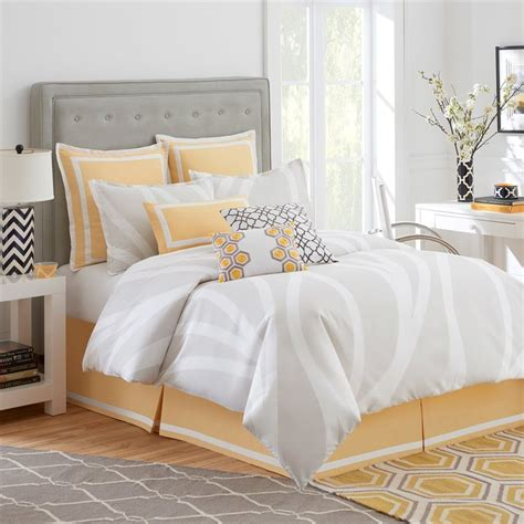 white and yellow comforter shop jill rosenwald by westpoint home groton swirl 4 piece