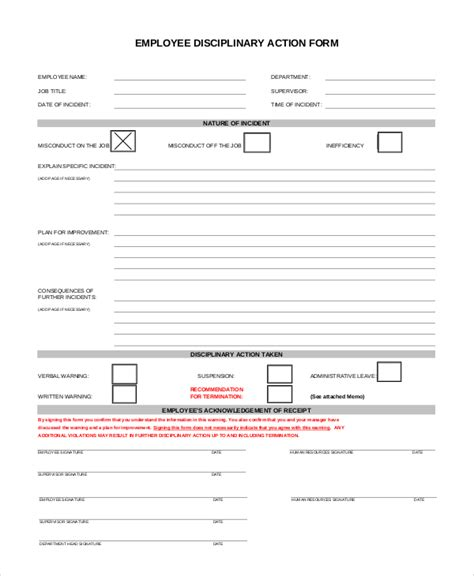 disciplinary forms for employees template 10 sle employee discipline forms sle templates