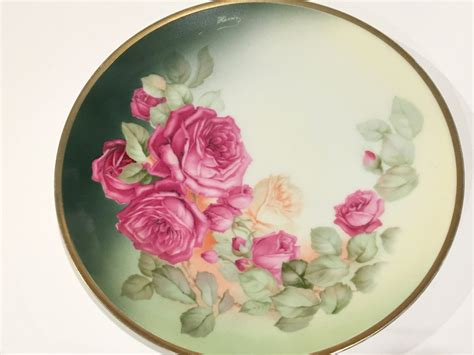 thomas sevres bavaria plate hand painted pink rose plate