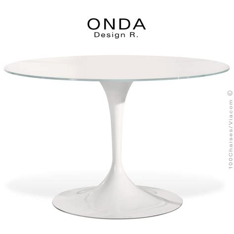 table ronde design onda pied central verre ou bois