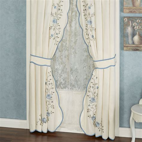 Dusty Blue Curtains vintage charm layered valance window treatment