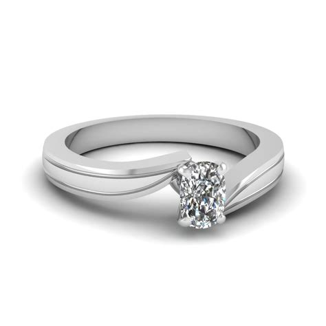 cushion cut twisted solitaire engagement ring in