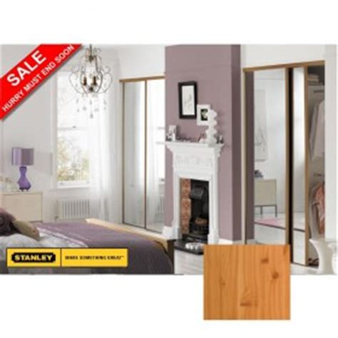 purchase 2 pine sliding wardrobe doors with mirrors 1 2m