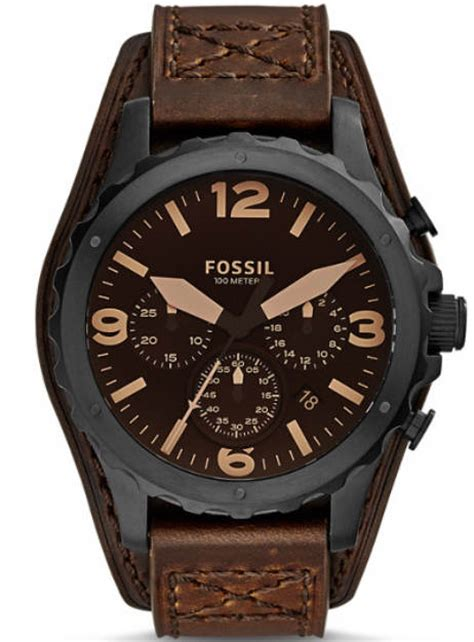 s fossil nate chronograph brown leather cuff jr1511