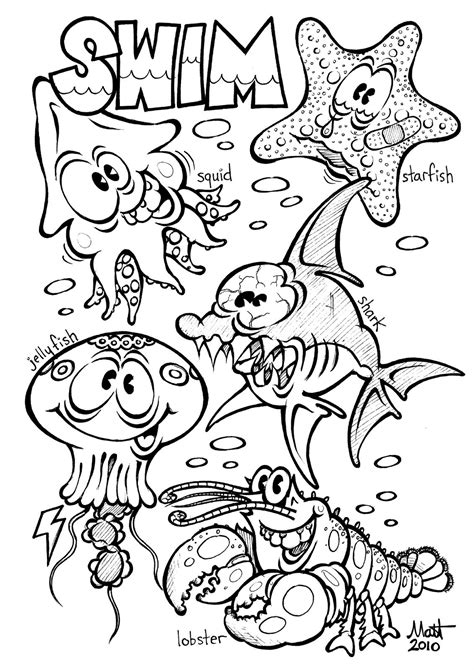 Coloring Page Ocean Animals | free printable ocean coloring pages for kids
