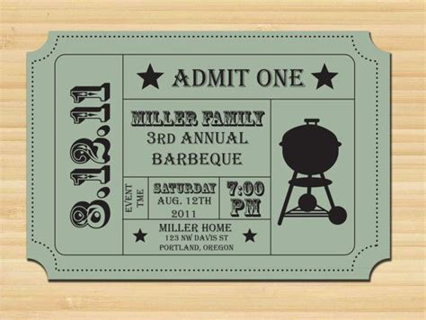affordable printable bbq ticket invitation invitations