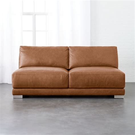 armless leather sofa leather sofas cb2 thesofa