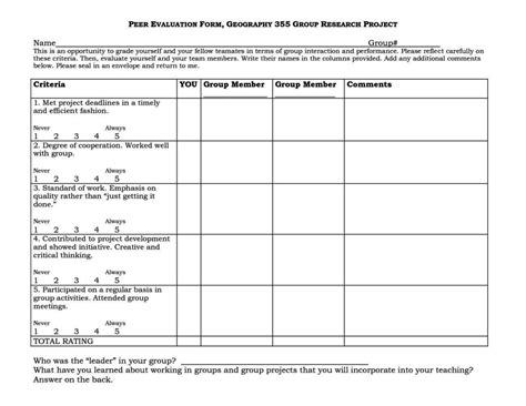 Rubric Template For Geography Reports Peer Assessment Template Sletemplatess Sletemplatess