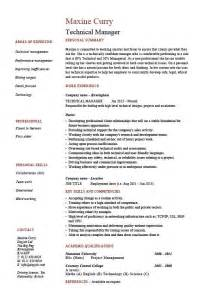 technical manager resume exle sle project manager