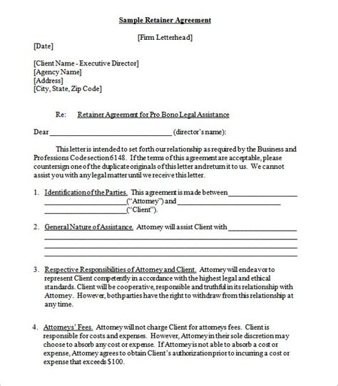 Retainer Agreement Template by 4 Retainer Contract Templates Free Word Pdf Format