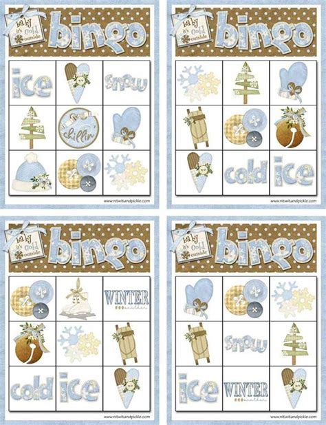 winter bingo card template winter bingo card set 2 printable