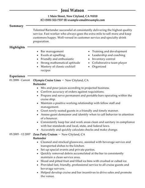 Bartender Resume Sles Templates bartending resume bartender media and entertainment watson writing resume sle