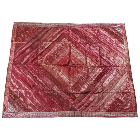 Silk Patchwork - indian silk sari tapestry quilt patchwork bedcover fuchsia