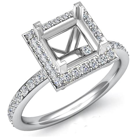 engagement ring princess cut semi mount 14k gold