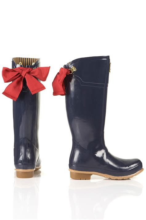 joules joules evedon ribbon wellies  blue lyst