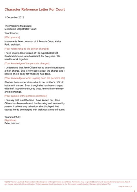 Court Character Reference Letter Sle Australia character reference letter for court for free