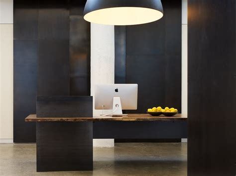 Reception Desks Modern Made Metal Modern Industrial Plate Steel Reception Desk With Maple Live Edge Slab Top