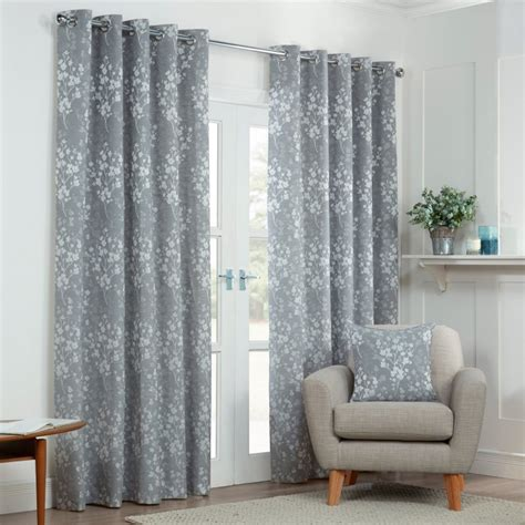 blossom curtains blossom silver grey floral lined eyelet curtains pair